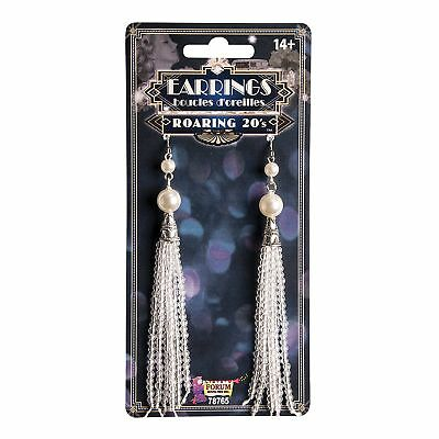 Roaring 20s Pearl Tassel Earrings Jewellery Flapper Ladies Fancy Dress Costume