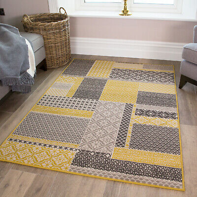 Ochre Mustard Yellow Patchwork Squares Contemporary Grey Living Room Bedroom Rug