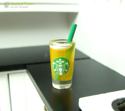 Dolls House Miniature Starbucks Orange Juice Cups Food Drink 1/6 Bjd Beverage
