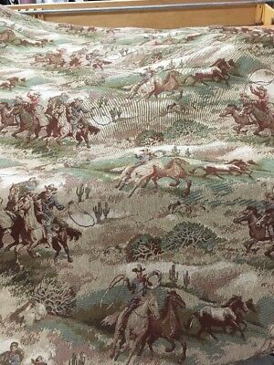 """Western Roundup Tapestry Upholstery Fabric  /horses/ 54"""" Bty"""