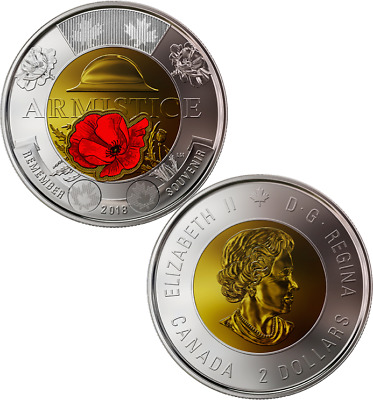 1918-2018 100th Anniversary Armistice Toonie $2 Color Coin from SpecialWrap Roll