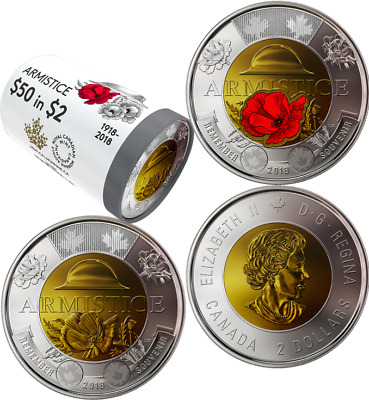 1918-2018 100th Anniversary Armistice Special Wrap Roll: 25 Toonies $2 Coins