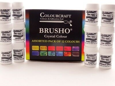 Colourcraft Brusho Crystal Colour Assorted Pack of 12 x 15g Watercolour Pigment