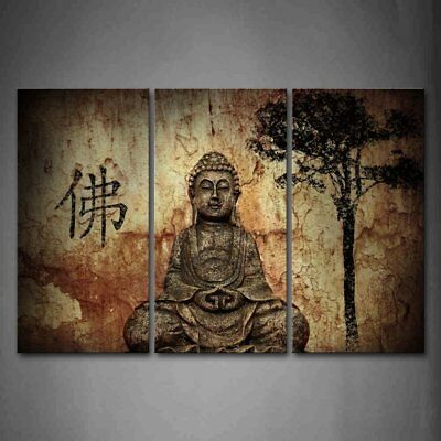 Framed Canvas Wall Art Decor Picture Chinese Grottoes Buddha Religious Painting