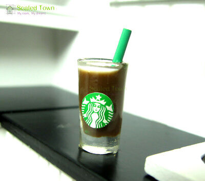 Dollhouse Miniature Starbucks Chocolate Coffee Straw Cup Food Drink 1/6 Beverage