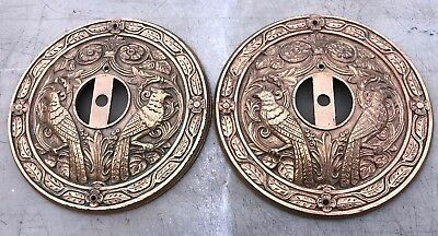O3 Phenomenal Antique Victorian Wall Sconce Backplates Cast Brass/bronze