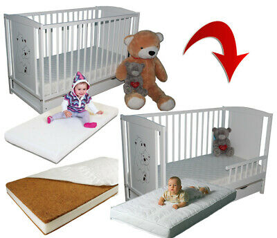 Teddy Bears Baby Cot With Drawer + Extra Barrier + High Quality 5 Mattresses