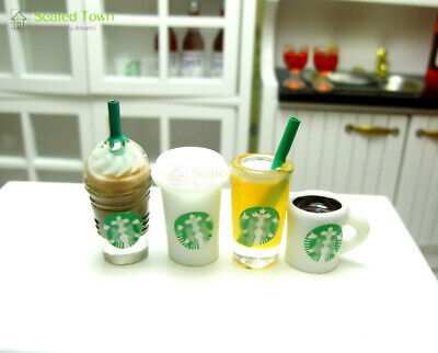 4 Doll House Miniature Starbucks Orange Juice Coffee Cup Mugs Food Drink 1/6 Bjd
