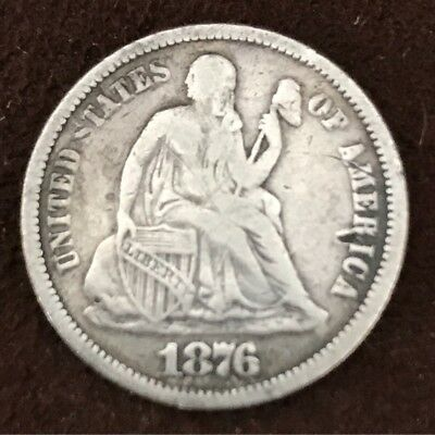 Usa Liberty Seated Type 1876 Silver 1 Dime Full Liberty Visible Nice High Grade