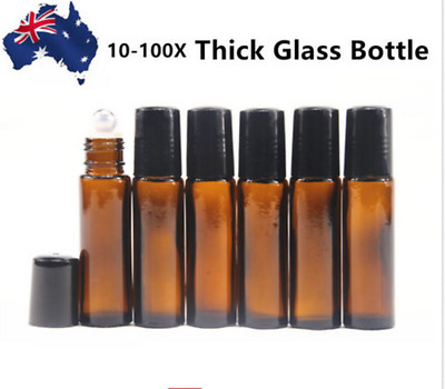 10-100X 10ml THICK Amber Glass Bottles Roller Perfume Essential Oil For doTERRA