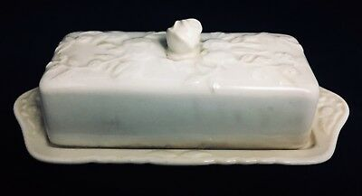 VINTAGE Pope Gosser ROSE POINT BUTTER DISH Rustic Farmhouse Country Shabby Chic