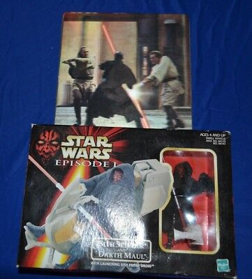Star Wars Episode 1 Darth Maul Lot - Computer Mouse Pad And Sith Speeder Figure