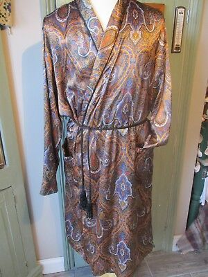 Vintage St Michael Gents Polyester Dressing Gown / Smoking Jacket Size Large