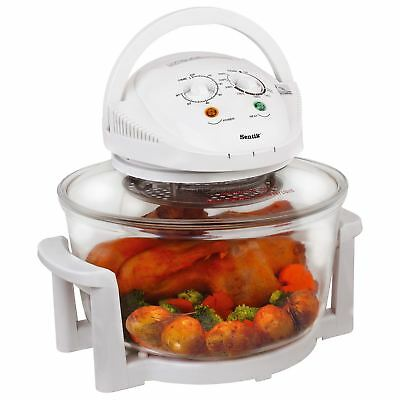 Sentik 12 Litre White Premium Portable Halogen Convection Oven Cooker 1300w New