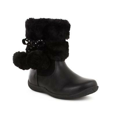 Walkright Girls Pom Pom Ankle Boot in Black - Sizes 6,7,8,9,10,11,12,13,1,2