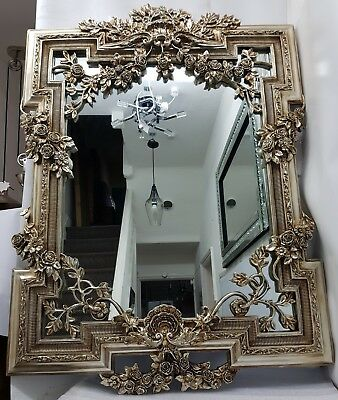 Large English Rose Antique French Style Wall Mirror Champagne Gold