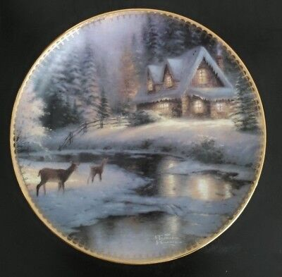 Thomas Kinkade Collector Plate - Deer Creek Cottage - 1996 1ST Issue Winter