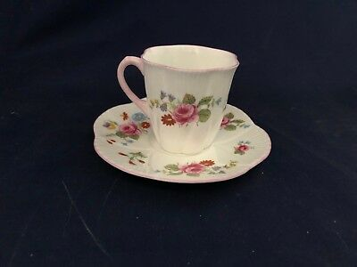 Shelley Pink Rose Red Daisy Bone China Teacup & Saucer Duo Dainty 272101 13625