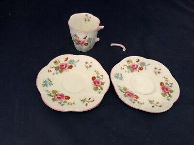Shelley Pink Rose Red Daisy Bone China Teacup & 2 Saucers Dainty 272101 13625