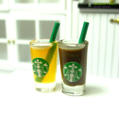 2 Dollhouse Miniature Starbucks Orange Juice Coffee Cups Food Drink 1/6 Beverage