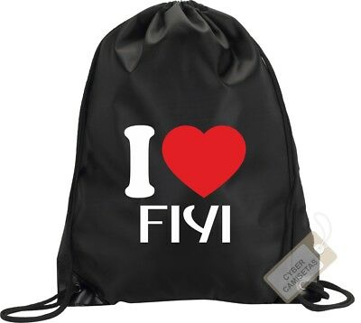 I Love Fiji Mochila Bolsa Gimnasio Saco Backpack Bag Gym Fiyi Sport