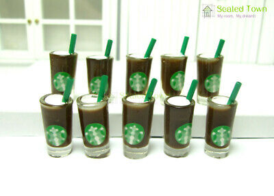 10pcs Dollhouse Miniature Starbucks Chocolate Coffee Cup Food Drink 1/6 Beverage