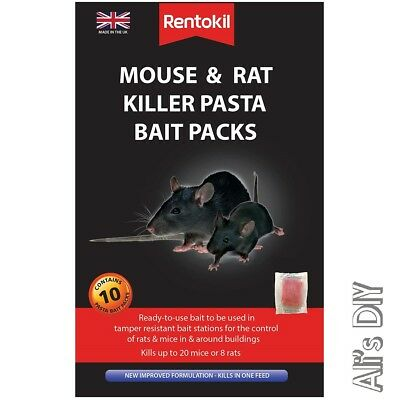 Mouse & Rat Killer Pasta Bait Rentokil Poison 10 Pack Rich Aroma Attracts Rodent