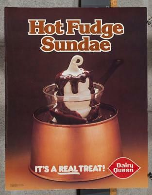 Vintage Dairy Queen Promotional Advertising Poster Hot Fudge Sundae 1980 dq2
