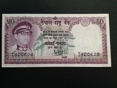 Rare!! Nepal 50 Rupees King Birendra In Military Cap Sig # 9  P- 25 Unc.nd1974