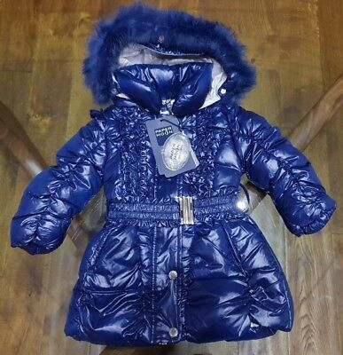 Papermoon Winter Duck Down Girls Blue Hooded Quilted Coat Jacket (1606)