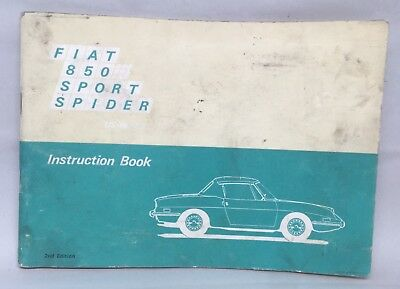 Fiat 850 Sport Spider Instruction Book Owners Manual US Version 2nd Edition Vtg