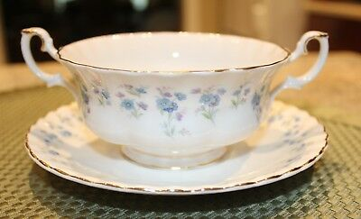 """Vintage Royal Albert """"Memory Lane"""" Cream Soup with under plate made in England"""