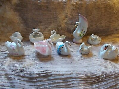Swan Figurines Lot ( 10) Porcelain,Glass,Trinket Box, etc.