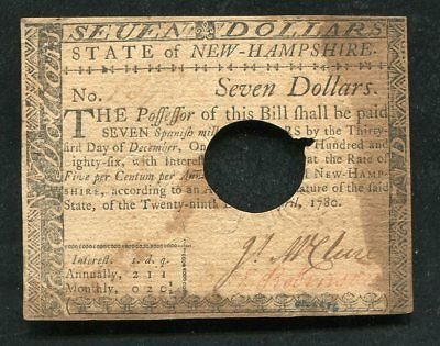Nh-184 April 29, 1780 $7 Seven Dollars New Hampshire Colonial Currency Note