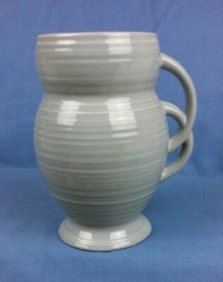 Art Deco Vase Grey and Pink Double Interlinked Handle Marked to the Base No.68