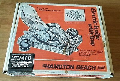 Vintage Hamilton Beach Electric Knife w/Tray Scovill Almond Orig. Box (272ALB)