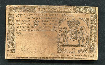 Ny-156 April 2, 1759 5 Five Pounds New York Colonial Currency Note Scarce