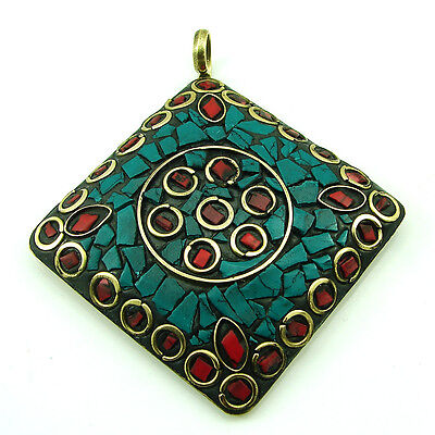 Tibetan Solid Brass Turquoise & Red Coral Antique Ethnic Pendant 1658