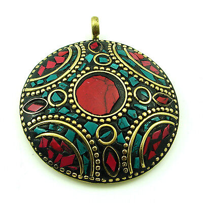 Tibetan Solid Brass Red Coral & Turquoise antique ethnic Pendant 1671