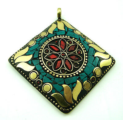 Tibetan Solid Brass , Red Coral & Turquoise antique ethnic Pendant 1663