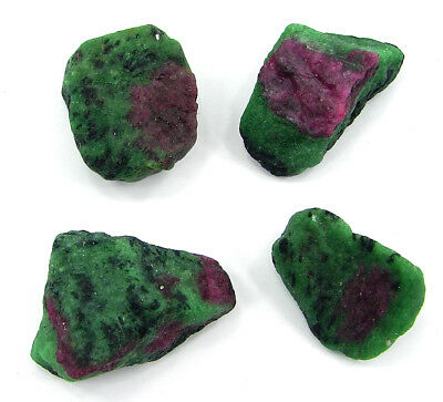 300 Ct Ruby Zoisite Anyolite Loose Gemstone Rough Specimen Lot 4 Pcs New HR 1104