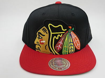 Chicago Blackhawks Black Wool Mitchell & Ness NHL Retro Logo Snapback Hat Cap