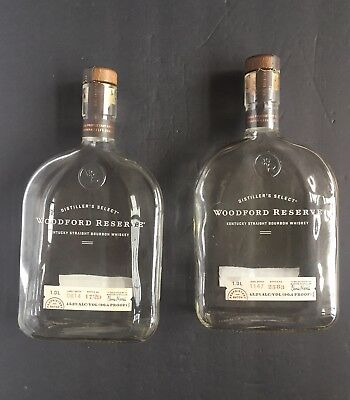 Lot of 2 Empty 1 Liter Woodford Reserve Bourbon Whiskey Bottles with Caps Corks