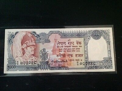 Rare !! Nepal Rs 1000Banknote King Birendra In Crown  Sig.#10 P 36 Unc Pin Hole.