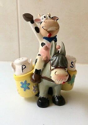 Donkey and Cow Rider Salt and Pepper shakers - Milk Churns New in Box