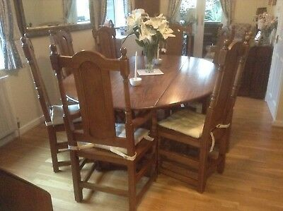 Large Solid Oak Drop Leaf Dinning Table