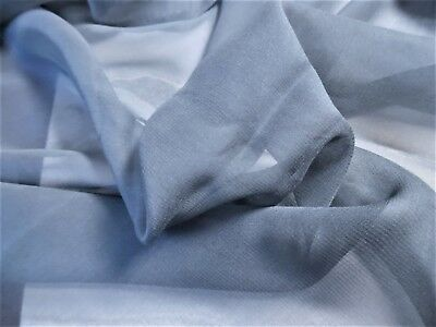 """100% SILK GAUZE~FRENCH BLUE~12"""" x 43""""~SOFT~SHEER~OVERLAYS~DOLL GOWNS"""