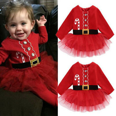 Baby Girl 1st Christmas Tutu Dress Santa Claus Party Outfits Xmas Gift Costume