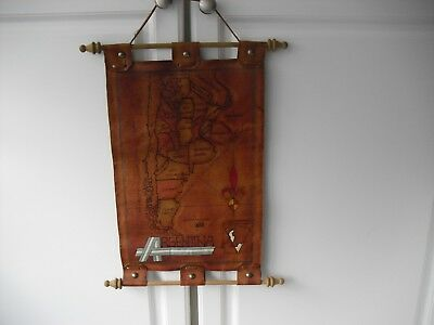 Argentina Leather Map Wall Hanging Rolling Mapa colgar Cuero decoracion # 606