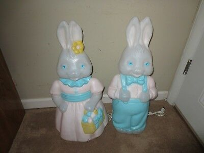 Vintage Carolina Easter Mr Mrs Bunny Rabbit Pair Lighted Blow Molds Yard Decor